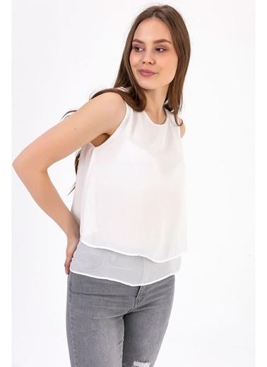 Tiffany&Tomato Sıfır Kol U Yaka Astarlı Şifon Bluz Ekru